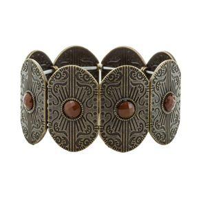Bracelete-Boho-Ouro-Velho-pedra-Marrom