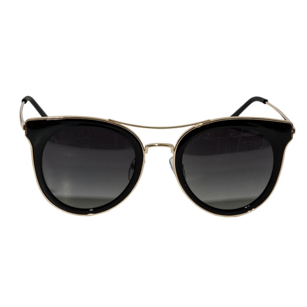 aea722aacd4ed Óculos de Sol Feminino Arredondado Lente Preta e Detalhes em Dourado ...