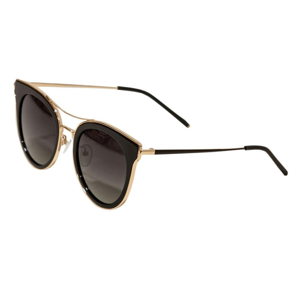 4d3ef6e6e19ae Óculos de Sol Feminino Arredondado Lente Preta e Detalhes em Dourado ...