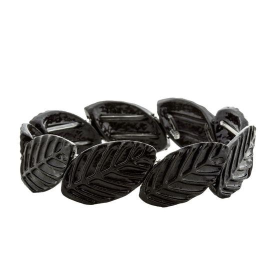 Bracelete-Folhas-Preto