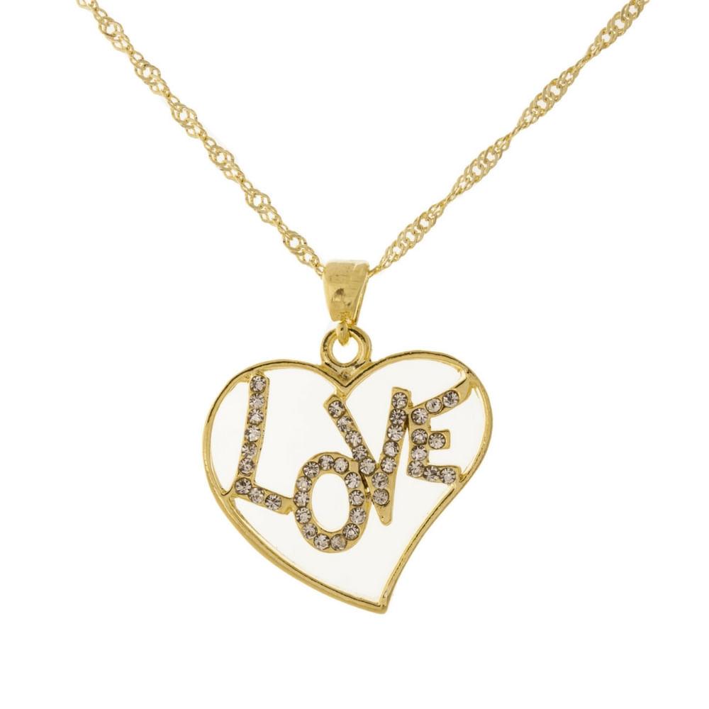 Colar Coração Dourado Love - Fashion Biju 48d4a0bf8a
