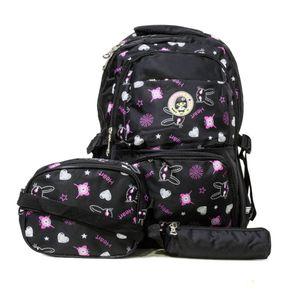 kit mochila infantil escolar preta