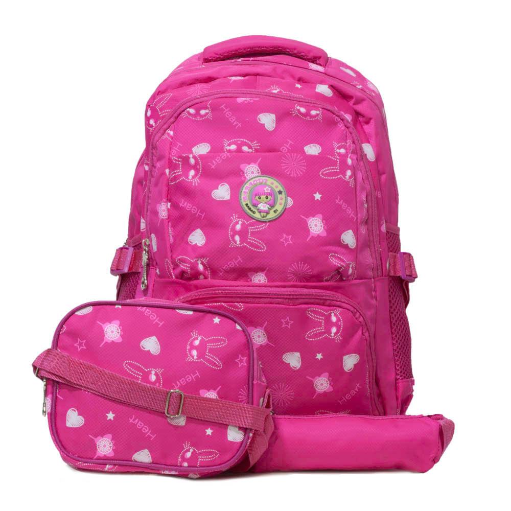 3cd7675f5 Mochila Escolar Infantil Coelhinhos - Fashion Biju