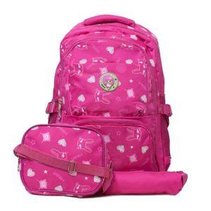 kit mochila infantil escolar pink