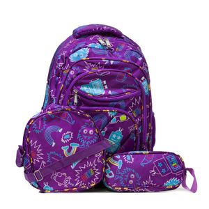 kit mochila infantil roxo