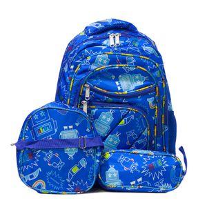 kit mochila infantil azul