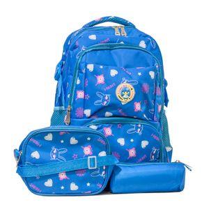 kit mochila infantil escolar azul