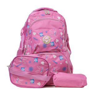 kit mochila infantil escolar rosa