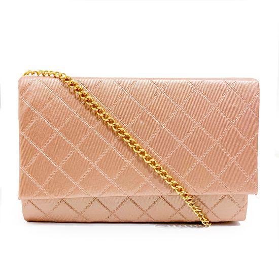 Bolsa Clutch Matelassê Cintilante - Rosé