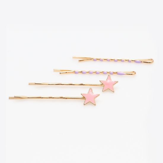 kit-grampo-dourado-de-estrela-rosa-e-lilas