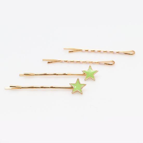 kit-grampo-dourado-de-estrela-verde-e-rosa-claro