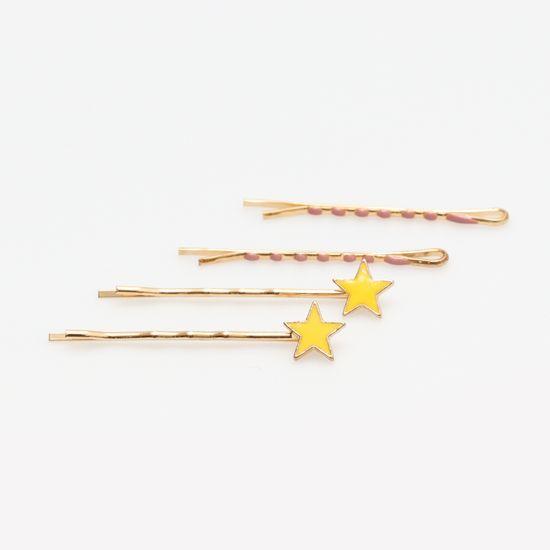 kit-grampo-dourado-de-estrela-amarelo-e-rosa-queimado