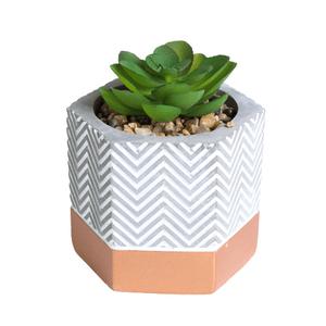 vaso-hexagonal-com-suculenta-artificial-Flor de Lótus