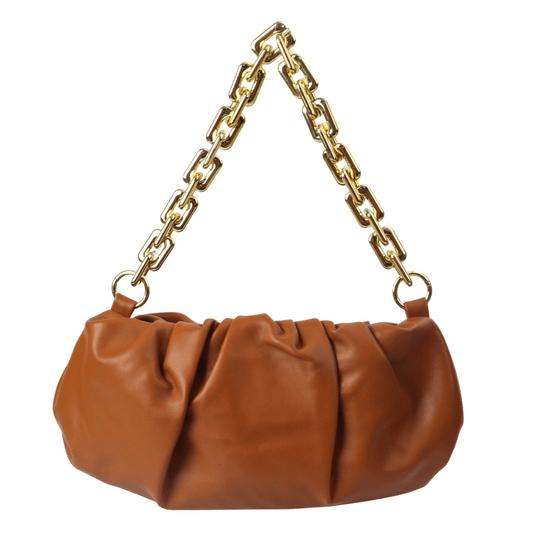 Bolsa-Pequena-Franzida-Com-Alca-de-Corrente-marrom
