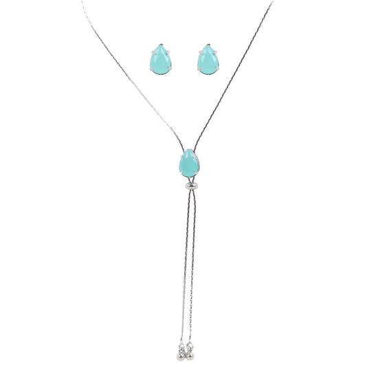 Kit-de-colar-sem-fecho-e-Brinco-Com-Pedraria-Azul
