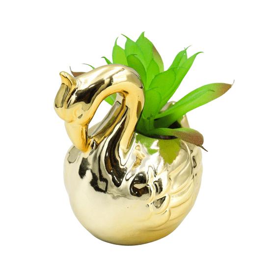 Enfeite-Decorativo-de-Cisne-Com-Suculenta-Artificial-dourado