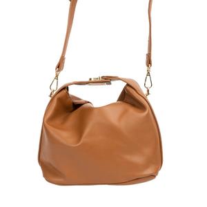 Bolsa-Pequena-Com-Textura-em-Couro-Sintetico-Lisa-marrom